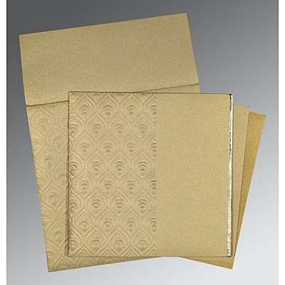 Khaki Shimmery Paisley Themed - Foil Stamped Wedding Invitations : CW-1506 - IndianWeddingCards