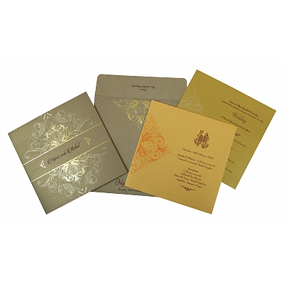 Khaki Shimmery Paisley Themed - Foil Stamped Wedding Invitation : CW-1806 - IndianWeddingCards