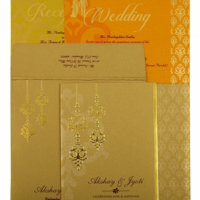 Khaki Shimmery Paisley Themed - Screen Printed Wedding Invitation : CD-1873 - IndianWeddingCards
