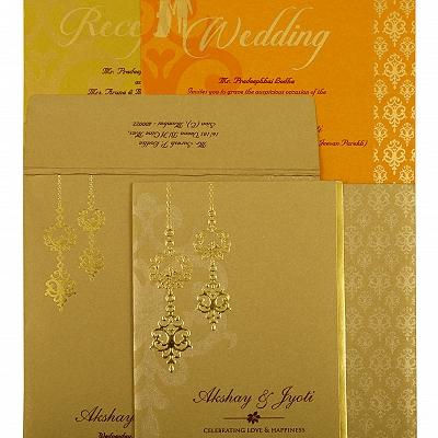 Khaki Shimmery Paisley Themed - Screen Printed Wedding Invitation : CI-1873 - IndianWeddingCards