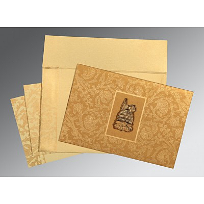 Khaki Shimmery Pocket Themed - Embossed Wedding Invitation : CI-1434 - IndianWeddingCards