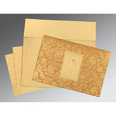 Khaki Shimmery Pocket Themed - Embossed Wedding Invitation : CW-1434 - IndianWeddingCards