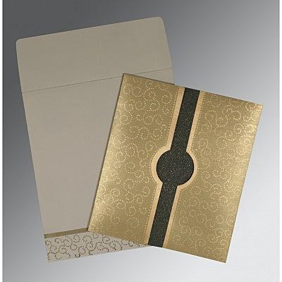 Khaki Shimmery Screen Printed Wedding Invitation : CIN-1377