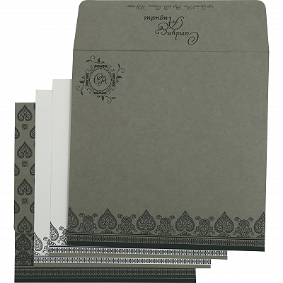 Light Grey Matte Screen Printed Wedding Invitation : CIN-809A - IndianWeddingCards