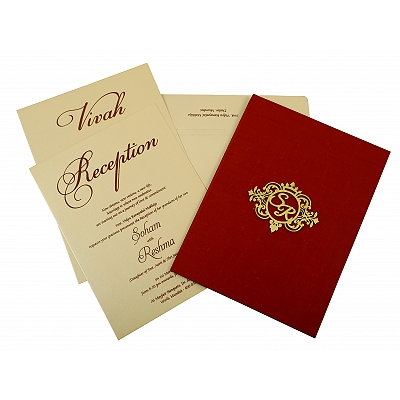 Maroon Satin Box Themed - Wedding Invitation : CI-1845 - IndianWeddingCards