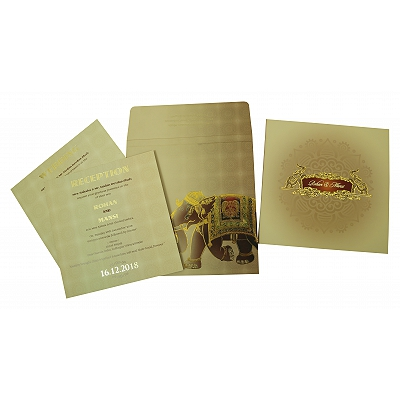 Matte Box Themed - Foil Stamped Wedding Invitation : CI-1823 - IndianWeddingCards