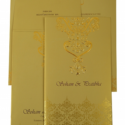 Mehndi Shimmery Paisley Themed - Screen Printed Wedding Invitation : CG-1920 - IndianWeddingCards