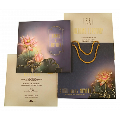 Multi Color Matte Box Themed - Foil Stamped Wedding Invitation : CI-1841 - IndianWeddingCards
