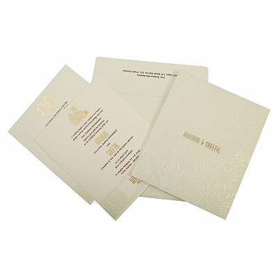 Off White Matte Box Themed - Embossed Wedding Invitation : CSO-1852 - IndianWeddingCards
