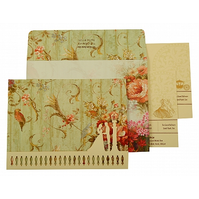 Off White Matte Floral Themed - Offset Printed Wedding Invitation : CI-1932 - IndianWeddingCards