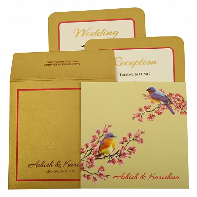 Off White Matte Foil Stamped Wedding Invitation : CC-1903 - IndianWeddingCards