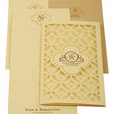 Off White Matte Laser Cut Wedding Invitation : CI-1911 - IndianWeddingCards
