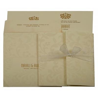 Off White Matte Paisley Themed - Embossed Wedding Invitation : CS-1913 - IndianWeddingCards