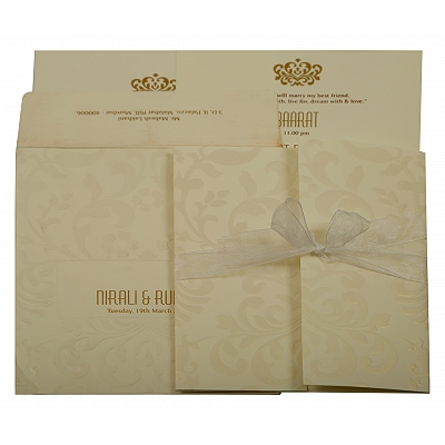 Off White Matte Paisley Themed - Embossed Wedding Invitation : CW-1913 - IndianWeddingCards