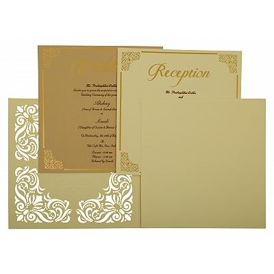Off White Matte Paisley Themed - Laser Cut Wedding Invitation : CW-1875 - IndianWeddingCards