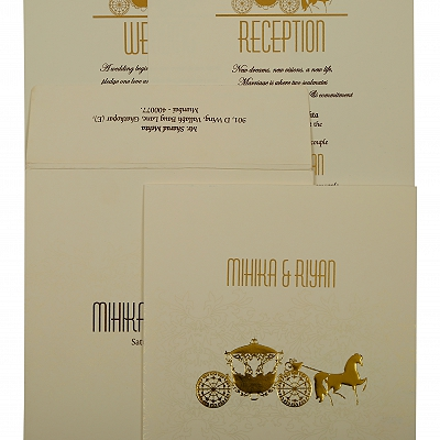 Off White Matte Screen Printed Wedding Invitation : CD-1896
