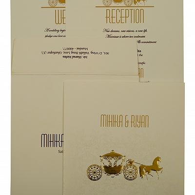 Off White Matte Screen Printed Wedding Invitation : CIN-1896 - IndianWeddingCards