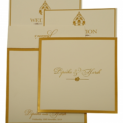 Off White Matte Screen Printed Wedding Invitation : CS-1931 - IndianWeddingCards