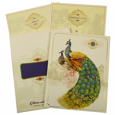 Off White Shimmery Peacock Themed - Foil Stamped Wedding Invitation : CW-1866 - IndianWeddingCards