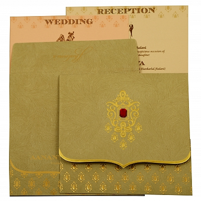 Olive Green Matte Paisley Themed - Foil Stamped Wedding Invitation : CW-1884 - IndianWeddingCards