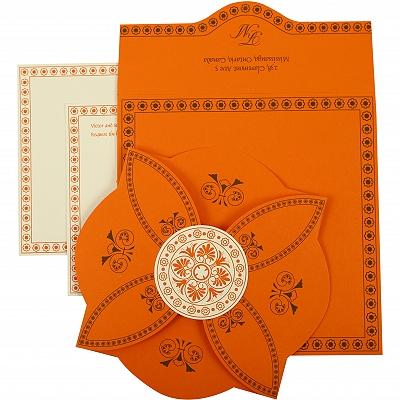 Orange Butterfly Themed - Screen Printed Wedding Invitation : CD-820A - IndianWeddingCards