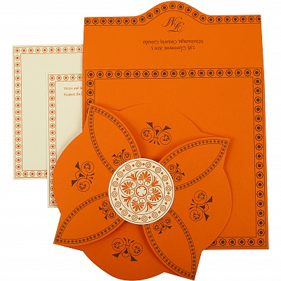 Orange Butterfly Themed - Screen Printed Wedding Invitation : CS-820A - IndianWeddingCards