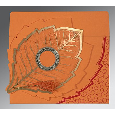 Orange Handmade Cotton Floral Themed - Foil Stamped Wedding Card : CD-8219B - IndianWeddingCards