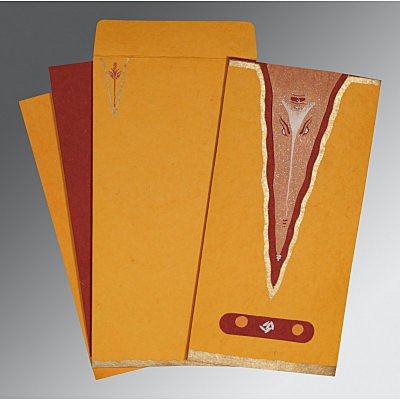 Orange Handmade Cotton Screen Printed Wedding Invitation : CIN-2241 - IndianWeddingCards