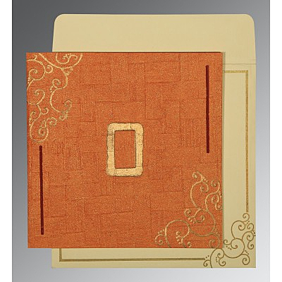 Orange Handmade Shimmer Embossed Wedding Invitation : CD-1236 - IndianWeddingCards