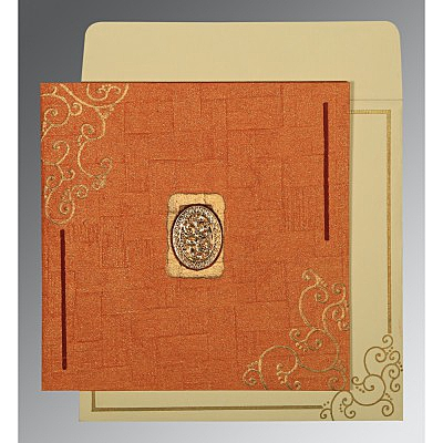Orange Handmade Shimmer Embossed Wedding Invitation : CI-1236 - IndianWeddingCards
