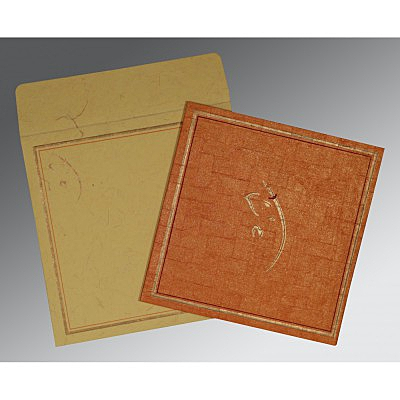 Orange Handmade Shimmer Embossed Wedding Invitation : CIN-2177