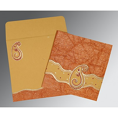 Orange Handmade Shimmer Embossed Wedding Invitation : CIN-2252 - IndianWeddingCards