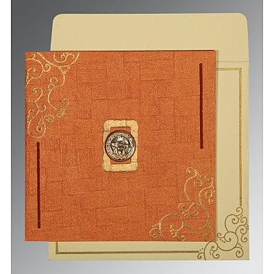 Orange Handmade Shimmer Embossed Wedding Invitation : CRU-1236