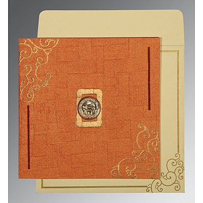 Orange Handmade Shimmer Embossed Wedding Invitation : CS-1236 - IndianWeddingCards