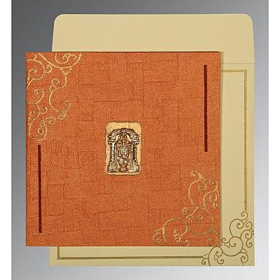 Orange Handmade Shimmer Embossed Wedding Invitation : CSO-1236 - IndianWeddingCards