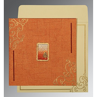 Orange Handmade Shimmer Embossed Wedding Invitation : CW-1236 - IndianWeddingCards