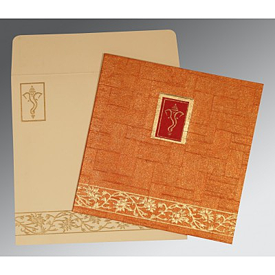 Orange Handmade Shimmer Embossed Wedding Invitation : CW-2178 - IndianWeddingCards