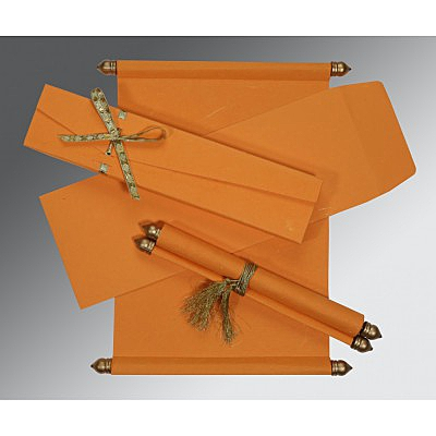 Orange Handmade Silk Wedding Card : CSC-5001H - IndianWeddingCards