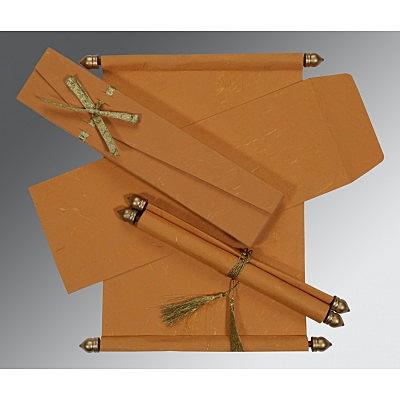 Orange Handmade Silk Wedding Card : CSC-5001M - IndianWeddingCards