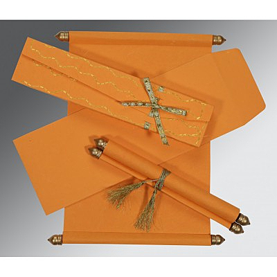 Orange Handmade Silk Wedding Card : CSC-5002A - IndianWeddingCards