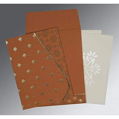 Orange Matte Floral Themed - Foil Stamped Wedding Invitation : CS-8237J - IndianWeddingCards