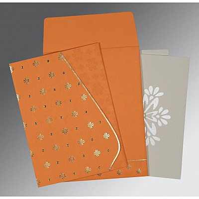 Orange Matte Floral Themed - Foil Stamped Wedding Invitation : CW-8237K - IndianWeddingCards