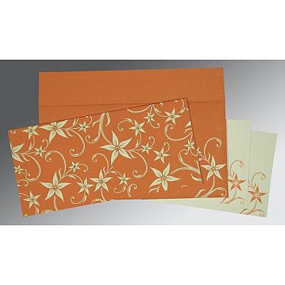 Orange Matte Floral Themed - Screen Printed Wedding Invitation : CD-8225J - IndianWeddingCards