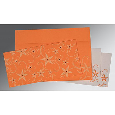 Orange Matte Floral Themed - Screen Printed Wedding Invitation : CD-8225L - IndianWeddingCards