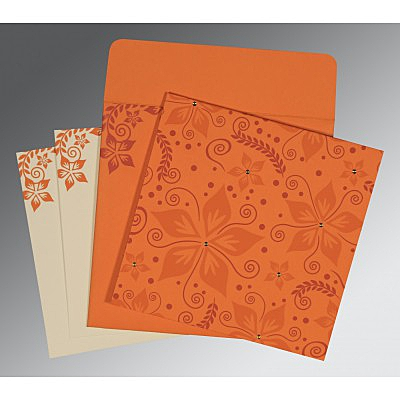 Orange Matte Floral Themed - Screen Printed Wedding Invitation : CD-8240K - IndianWeddingCards