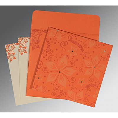 Orange Matte Floral Themed - Screen Printed Wedding Invitation : CI-8240M