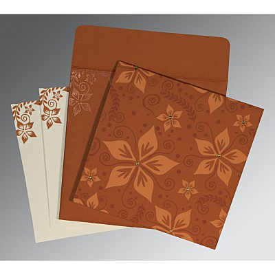 Orange Matte Floral Themed - Screen Printed Wedding Invitation : CW-8240L - IndianWeddingCards