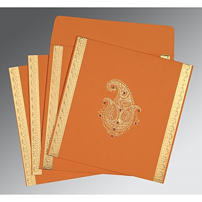 Orange Matte Paisley Themed - Embossed Wedding Invitation : CG-8231N - IndianWeddingCards