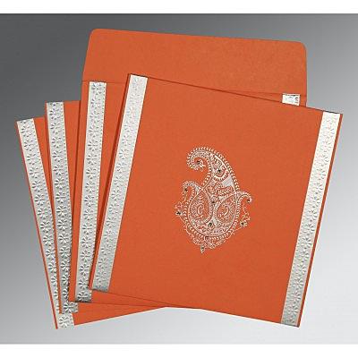 Orange Matte Paisley Themed - Embossed Wedding Invitation : CS-8231M - IndianWeddingCards