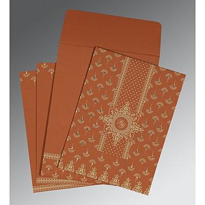Orange Matte Screen Printed Wedding Invitation : CC-8247F - IndianWeddingCards